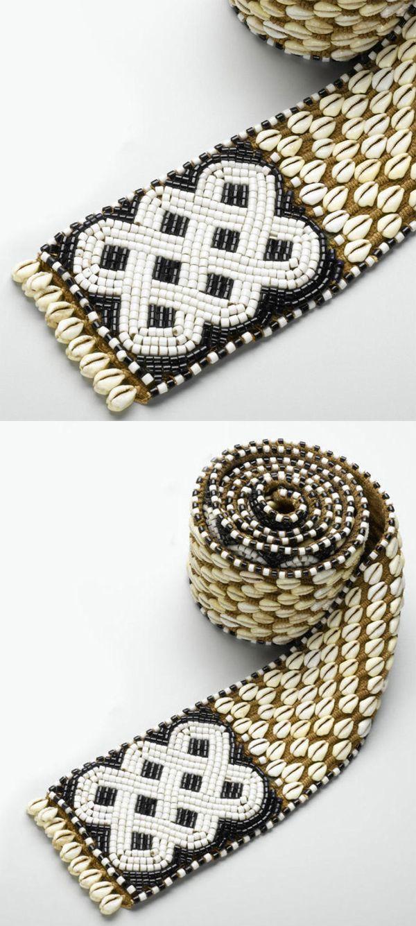Africa | Belt from the Kuba people of DR Congo | Cowrie shells, vegetal fiber, glass beads