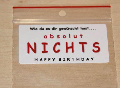 EINE TÜTE NICHTS! Geschenkidee zum Geburtstag – kati39hha