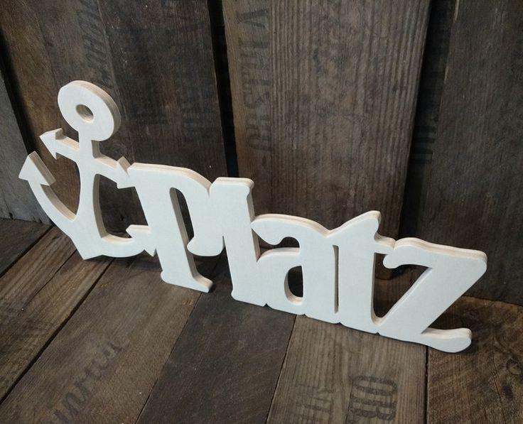 Buchstaben & Schriftzüge - (Anker)Platz  -  Maritimer Schriftzug aus Holz - ein Designerstück von Julies_Welt bei DaWanda