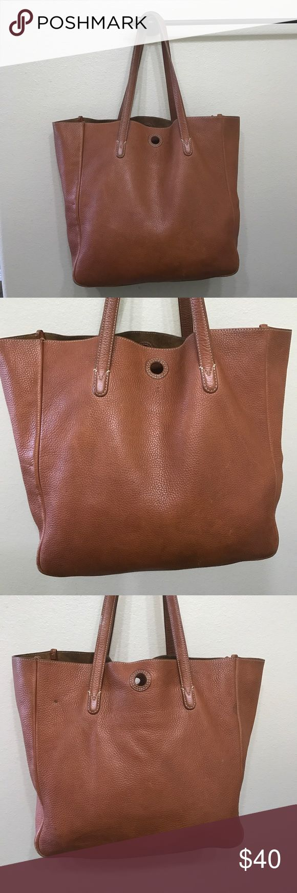 """J. Crew XL leather tote bag purse J. Crew XL leather tote bag purse vintage look as leather does have marks throughout the bag wear on bottom corners  (scratched discolorations)  well worth taking to have the leather color touched up! Interior has wear & some pen stains Measures 19"""" long flat 13"""" tall 5"""" wide strap drop 8"""" sold as is J. Crew Bags Totes"""