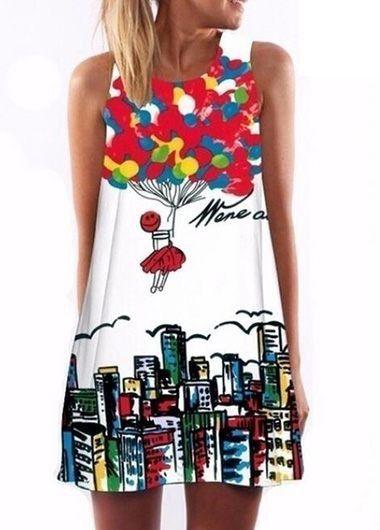 Balloon Print Round Neck Mini Dress on sale only US$25.83 now, buy cheap Balloon Print Round Neck Mini Dress at molyca.com