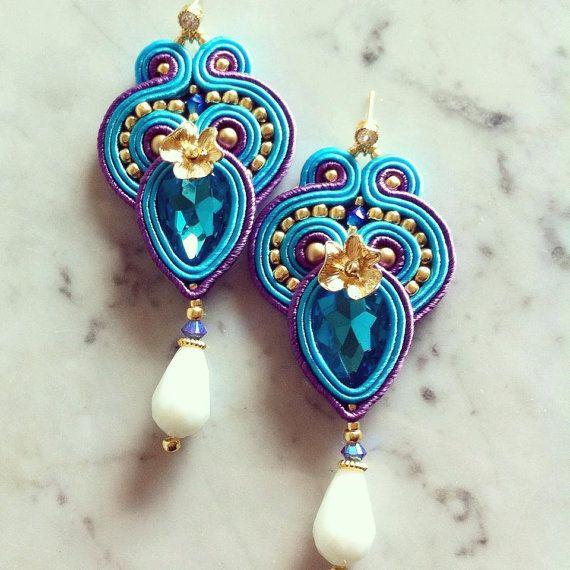 Earrings blue and purple soutache by LaviBijoux on Etsy