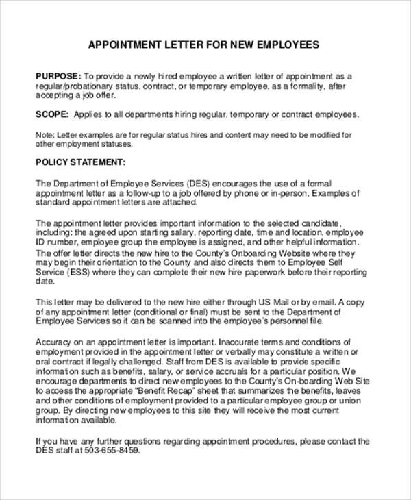 job appointment letter for new employees sample agreement hashdoc