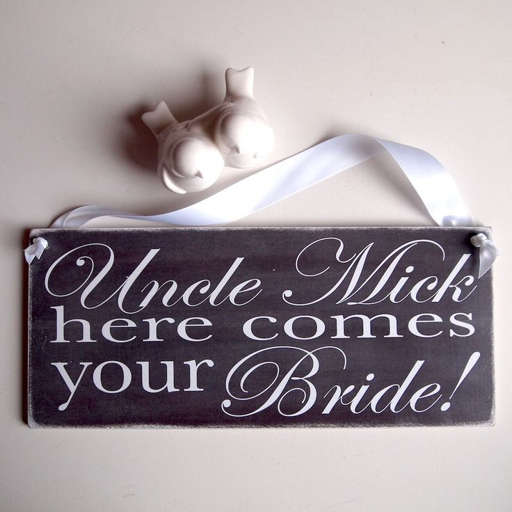 Double-sided Personalised Here Comes Your Bride Ring Bearer Page Boy Chalkboard Style Monochrome Wedding Sign Aisle Plaque - pinned by pin4etsy.com