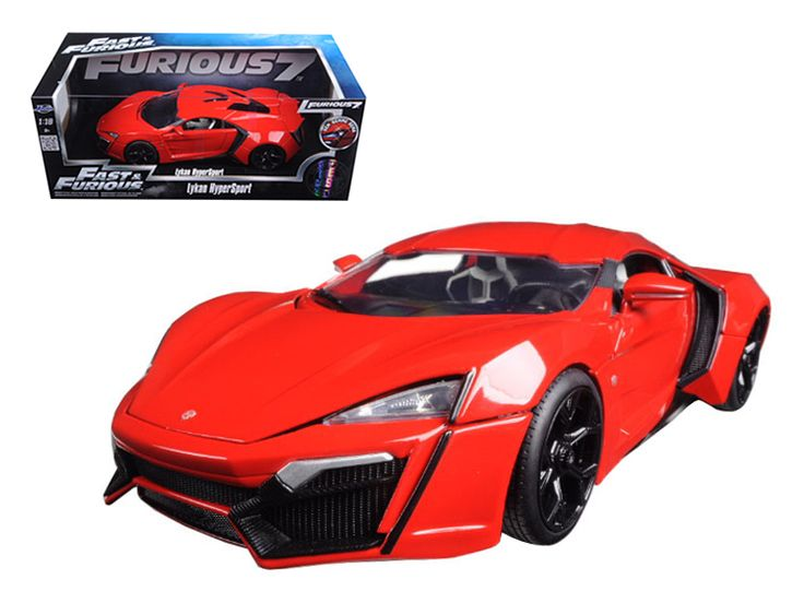"Lykan Hypersport Red ""Fast & Furious 7"" Movie 1/18 Diecast Model Car by Jada - Brand new 1:18 scale diecast car model of Lykan Hypersport Red ""Fast & Furious 7"" Movie die cast car model by Jada. Brand new box. Rubber tires. Has opening hood, doors and trunk. Made of diecast with some plastic parts. Detailed interior, exterior, engine compartment. Dimensions approximately L-10.5, W-4, H-3.5 inches. Please note that manufacturer may change packing box at anytime. Product will stay exactly the…"