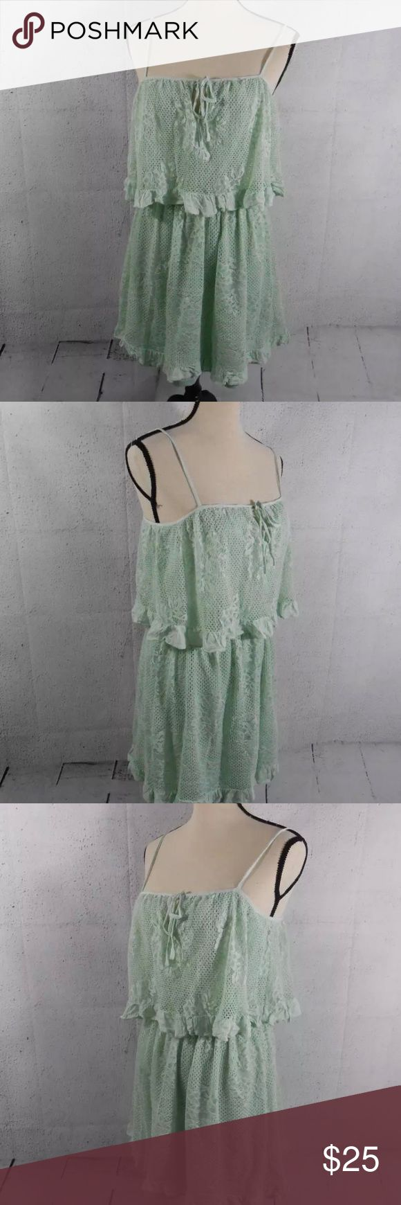 Francesca's Collection Boutique Lace Green Dress Francescas Collection Boutique Mi Ami Miami Womens Small Ruffle Eyelet Green Sleeveless Dress  Worn once to a brunch Francesca's Collections Dresses Mini