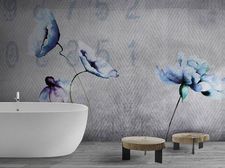 Carta da parati lavabile in vinile con motivi floreali FLEUR by N.O.W. Edizioni