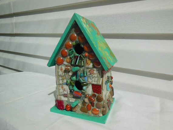 Aqua Peach birdhouse  Mosaic Gumbo on etsy.com, peach aqua birdhouse, tropical birdhouse, mosaic birdhouse, shabby chic décor, broken china birdhouse, pique assiette