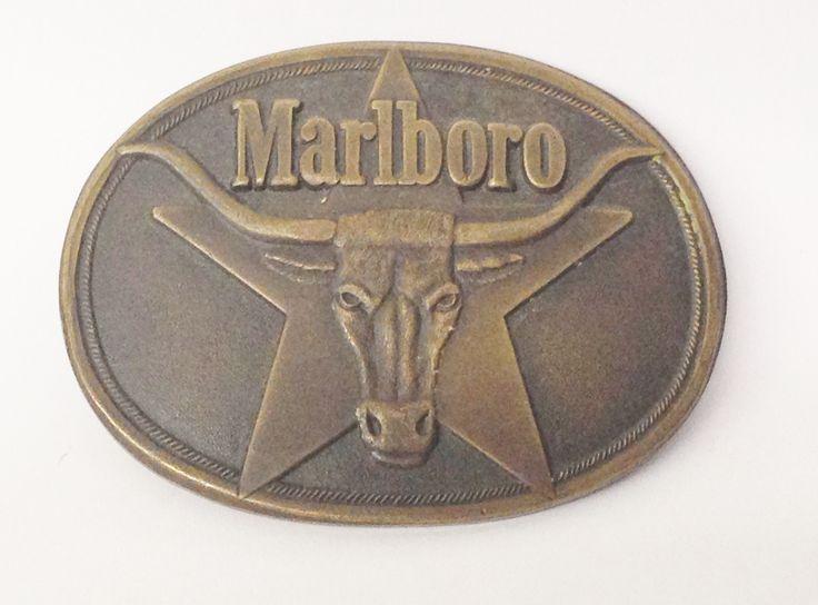 1987 Philip Morris Marlboro Cigarettes Solid Brass Belt Buckle With Bull