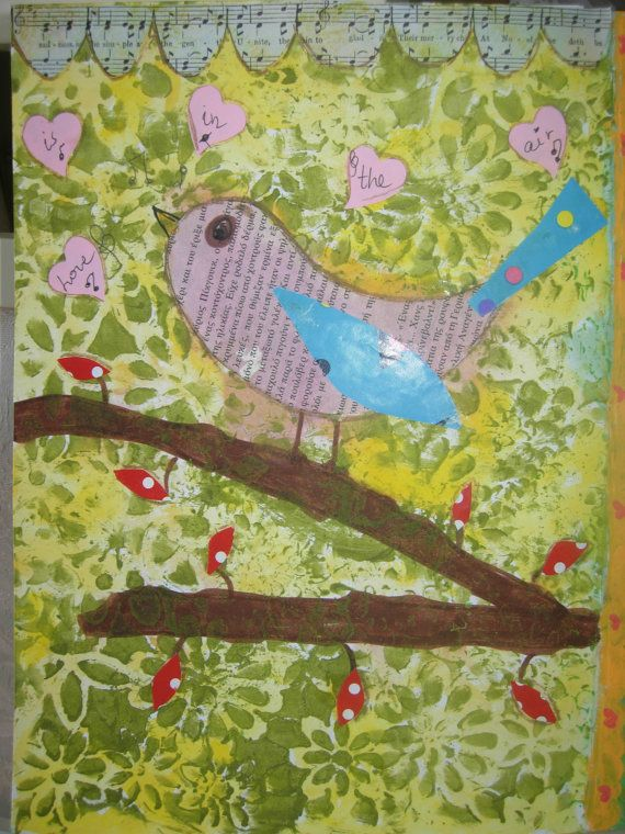 love is in the air...mixed media art print by eltsamp on Etsy, $20.00