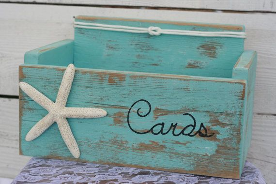 Card Wedding Box Holder Distressed Beach by RobinsRomanticDesign