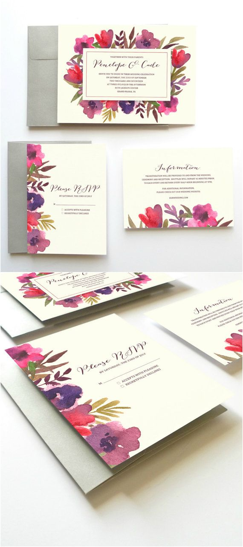 Printable Wedding Invitation Set // Watercolor Wedding // by Oak House Printable Designs