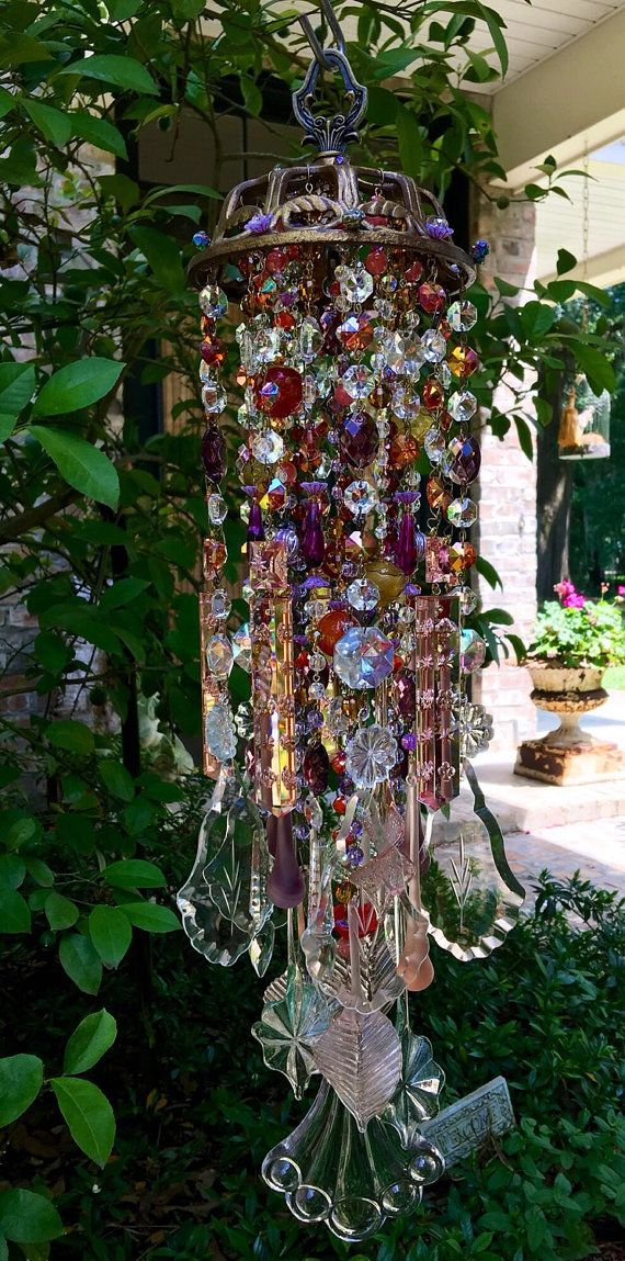 MyStiC Garden Crystal Windchime with Rare French by MsJoJangle
