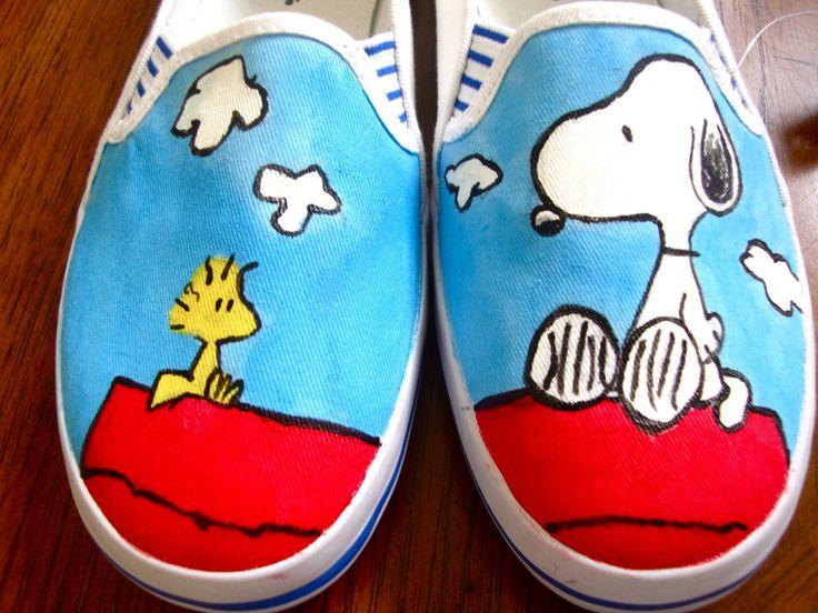 Peanuts' Snoopie & Woodstock Shoes Painted by Angelika Albaladejo Vans-Gogh: Hand-Painted Shoes