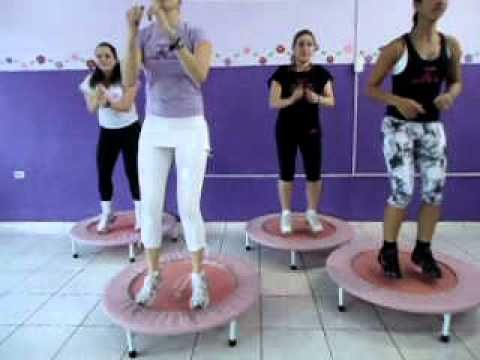 Rebounder Workout - no idea what she's saying but the choreography isn't too hard to pick up and looks fun.