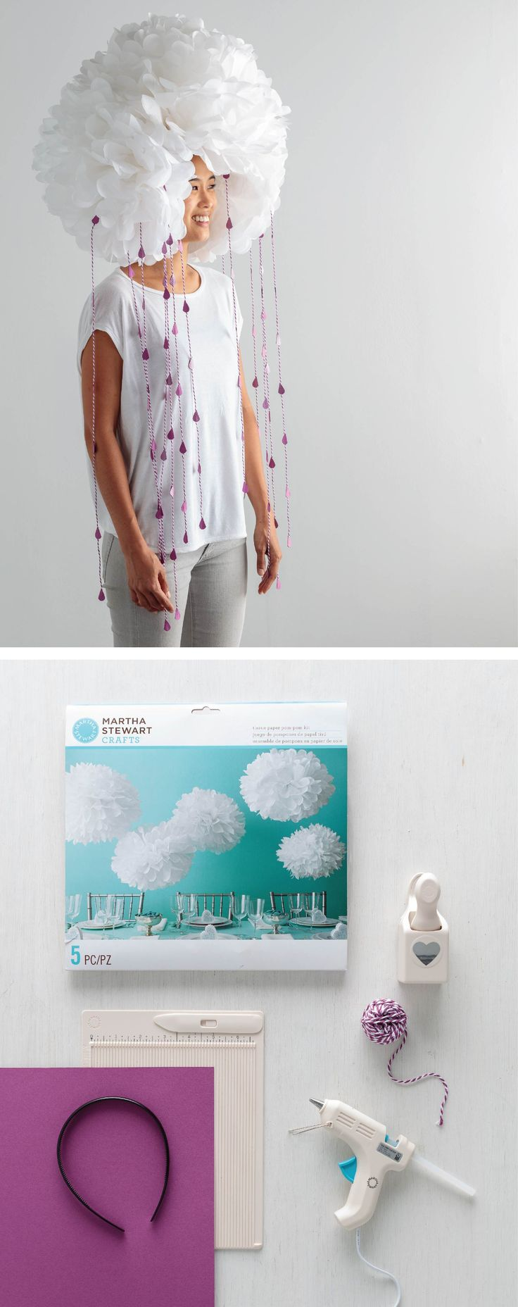 Keep your head in the clouds with this funky, but sweet rain cloud costume! Use the Martha Stewart Crafts heart punch to create rain drops and hang them from your pom-pom cloud.