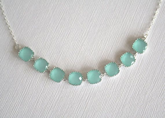 Teal Crystal Necklace in Sterling Silver Aqua by BellaJewelsInc, $42.00
