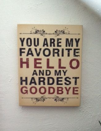 Favorite Hello Hardest Good-bye. Guest Room. Note Cards.