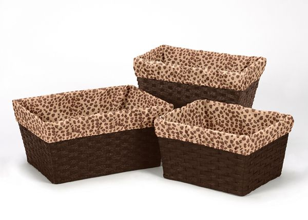 Sweet Jojo Designs Cheetah/Leopard Print Decorative Basket Liners for Animal Bedding Collections
