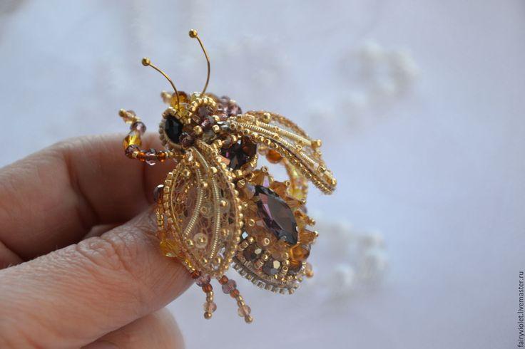 """Купить Брошь """"Золотая пчелка"""" - золотой, брошь, брошь ручной работы, брошь пчела"""