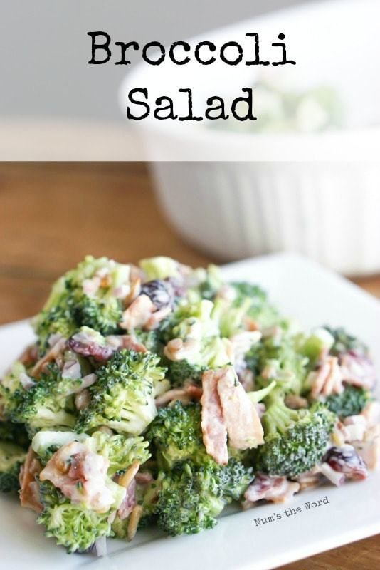 Broccoli Salad – Main image for recipe of salad heaped on a plate