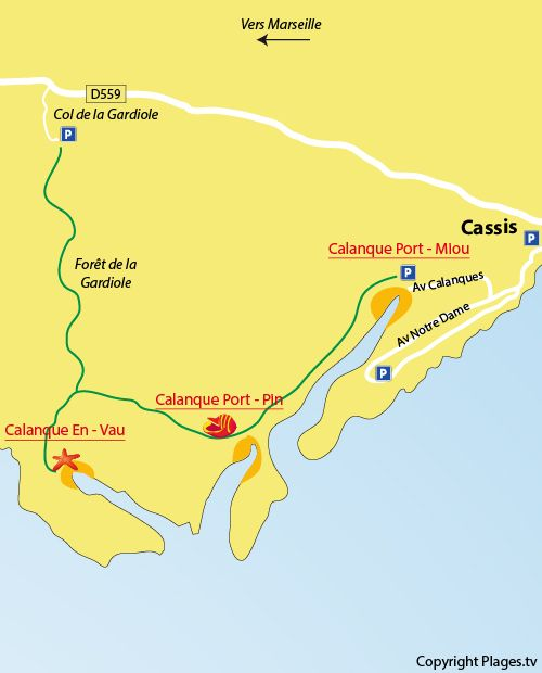 Carte de la calanque d'En Vau de Marseille
