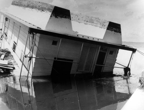 Houseboat overturned by Hurricane Donna