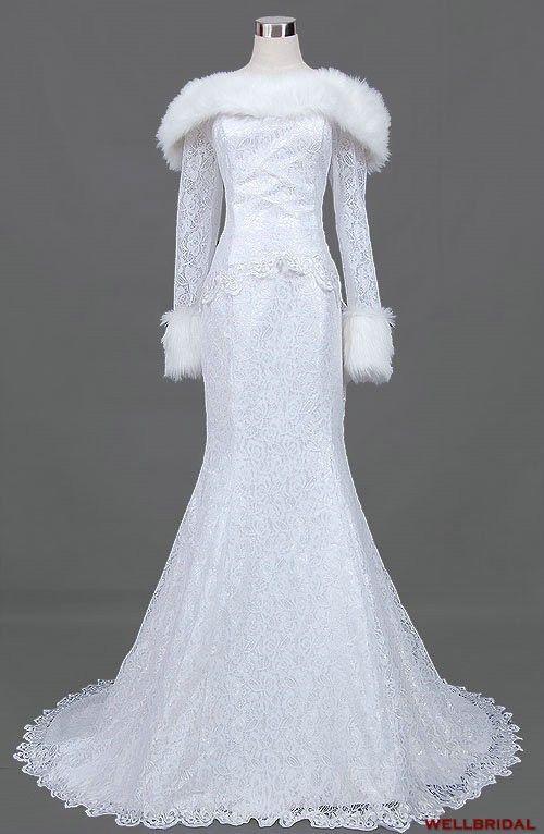 471 best winter wonderland wedding images on pinterest for Lace winter wedding dresses