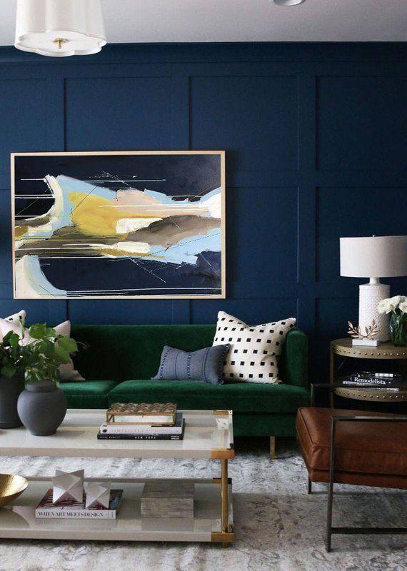Abstrakte Malerei Grosse Wand Kunst Strukturierte Kunst Grosse Leinwand Etsy Wohnzimmer Ideen Living Room Paint Navy Living Rooms Masculine Living Rooms