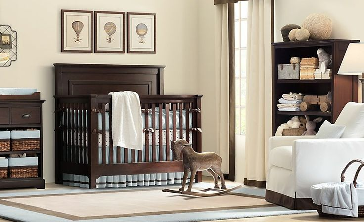 vintage nursery decor idea with lacquer wooden cradle feats white leather accent chair and calming braided rug: futuristic nursery decor ideas with the white balance touch