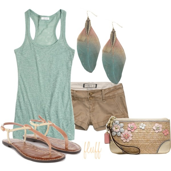 Teal.: Colors Combos, Day Outfits, Summer Day, Beaches Outfits, Fashionista Trends, Cute Summer Outfits, Feathers, Earrings, Summer Time