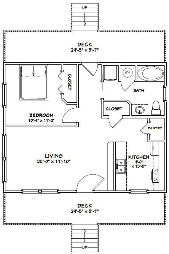 30x24 House 1 Bedroom 1 Bath 720 Sq Ft Pdf Floor Plan Instant Download Model 6c Small House Floor Plans New House Plans Tiny House Floor Plans