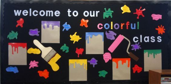 This is my actual Back to School bulletin board.  The students names are written on the paint splotches.     Please vote for my bulletin board at http://bulletinboardideas.org/4492/welcome-to-our-colorful-class-back-to-school-bulletin-board-idea/