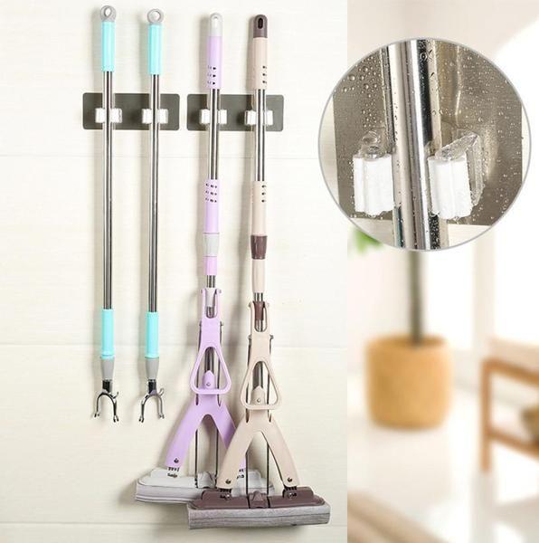 Wall Mounted Mop Rack Brush Broom Holder Hanger Organizer Storage Kitchen Tool