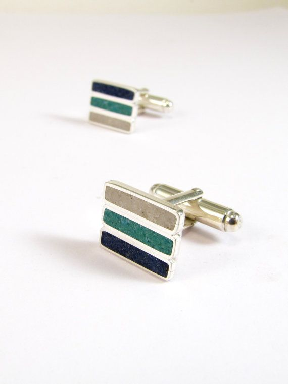 Sterling Silver Cuff Links  Blue Turquoise White by maldonadojoyas, $91.00