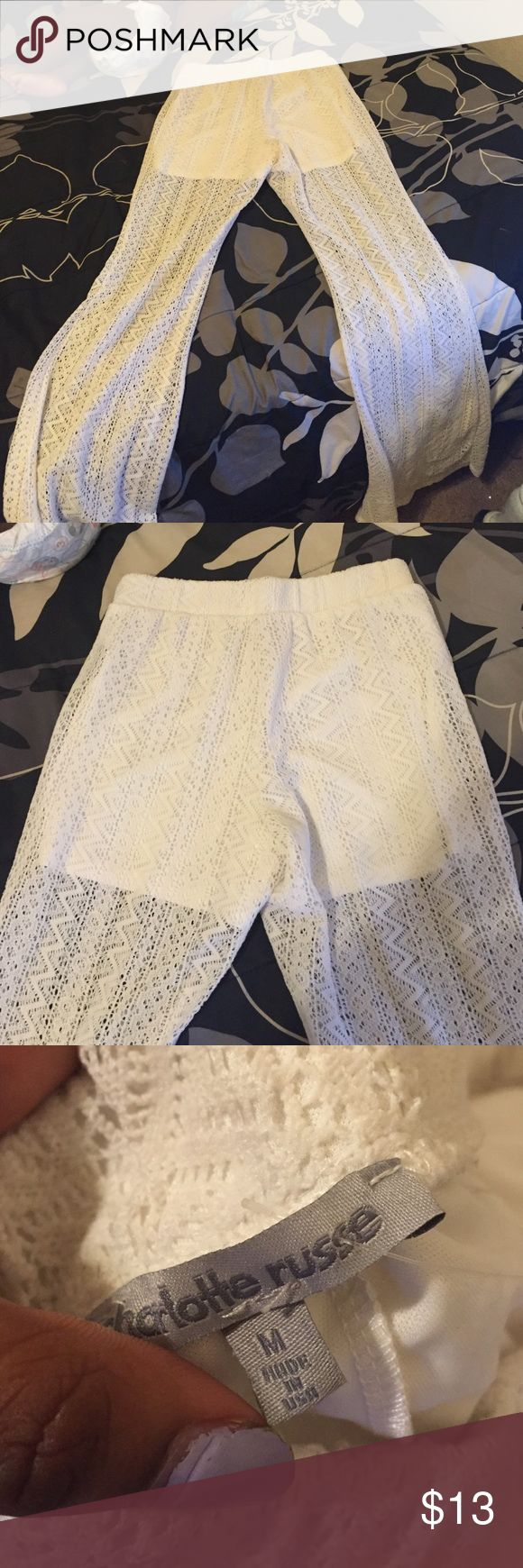 Beach pants All white beach pants, never worn, they make your butt look really big girl.😏😛 Charlotte Russe Pants