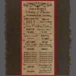"""Vintage Rustic Typography Style Wedding Programs with black type on a rustic distressed brown background.  Room for 6 Bridesmaids and Groomsmen in additional to the Maid of Honor and Best Man.   The wording is laid out in a typography style print.  Wedding Party is on the front and the order of ceremony is on the back.  Room for """"In memory of"""" for grandparents who have passed on, and also room for thank you note from the bride and groom.  Address to the reception on the bottom.    J..."""