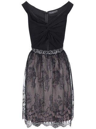 Little Mistress - Černé šaty s krajkovanou sukní - 1