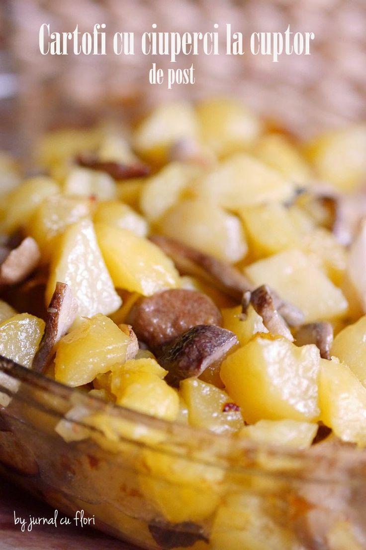 cartofi cu ciuperci la cuptor de post