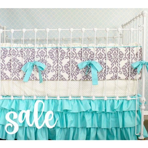Turquoise and Purple Crib Bedding Set Baby Girl Crib Bedding Purple... ($298) ❤ liked on Polyvore featuring home, children's room, children's bedding, baby bedding, bedding, home & living and silver