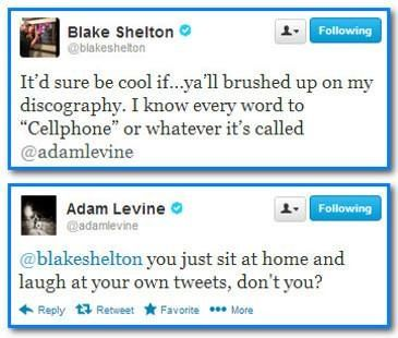 Blake Shelton and Adam Levine everyone. They have A love hate bromance relationship #TheVoice