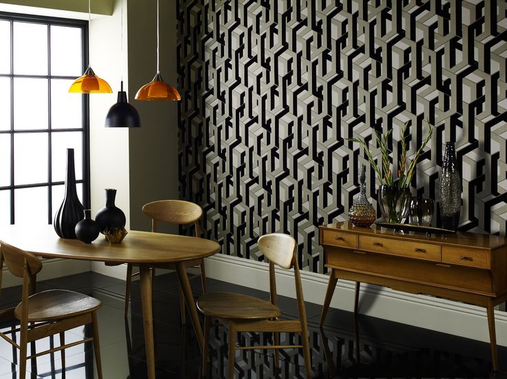 Flocked wallpaper and a gorgeous kitchen nook