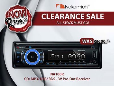 UNBELIEVABLE VALUE!  #Nakamichi CLEARANCE SALE on our NA100R!  Was: R1200.00 NOW: R799.00  All stock must go! Inbox the page with your details to purchase!