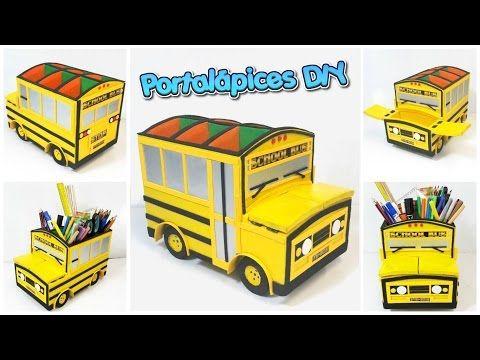 Portalápices hecho con cartón con forma de bus escolar amarillo (manualidades para regreso a clases) - YouTube