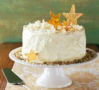 (Pistachio Cake with White Chocolate Frosting...this cake is so good!) Me encanta las estrellitas de decoración u.u