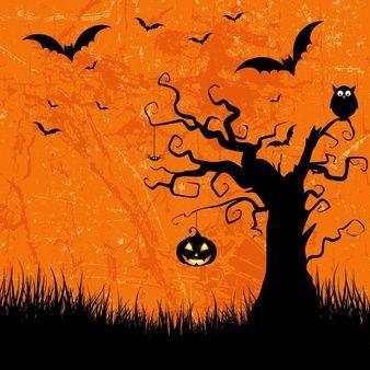Estilo do grunge Fundo de Halloween com bastões jaque o lanterna e coruja