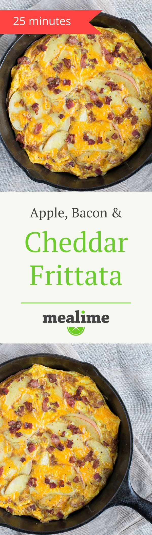 Bacon Frittata with Apple & Cheddar Cheese via @mealime  - a healthy, easy frittata recipe for one or two. Flexitarian, keto, low carb, paleo/primal, fish free, gluten free, peanut free, shellfish free, and tree nut free. #mealplanning