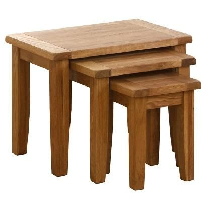 Vancouver Oak Furniture - Vancouver Petite Oak Nest Of 3 Tables