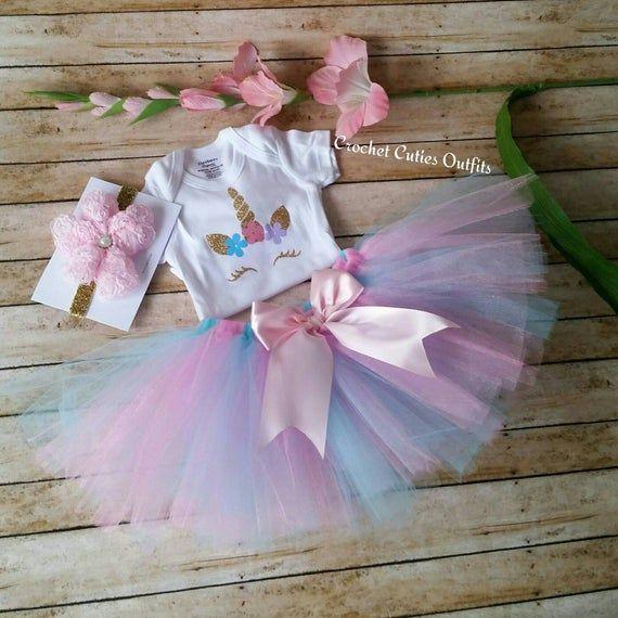 Baby Girl Tutu Set Unicorn Birthday Outfit Birthday Tutu Customized First Birthday Tutu Unicorn Birthday Tutu Personalized Baby Outfit
