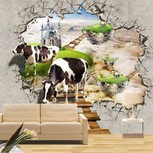 Custom Fotowand Papier 3D Wanddecoraties Woonkamer Slaapkamer tv achtergrond muurschilderingen behang koeien muur mural de parede 3D(China (Mainland))
